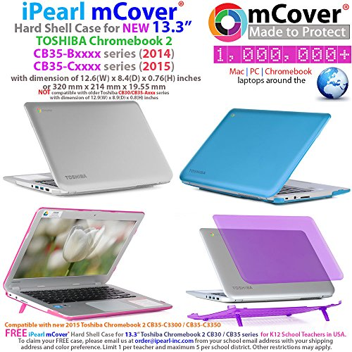 iPearl mCover Hard Shell Case for 13.3-inch Toshiba ChromeBook 2 CB30 / CB35-Bxxxx (2014) and CB30 / CB35-Cxxxx (2015) series Laptop (NOT compatible with OLDER Toshiba CB30 / CB35-Axxxx (2013) series 13.3-inch Chromebook) (Blue) by mCover (Image #1)