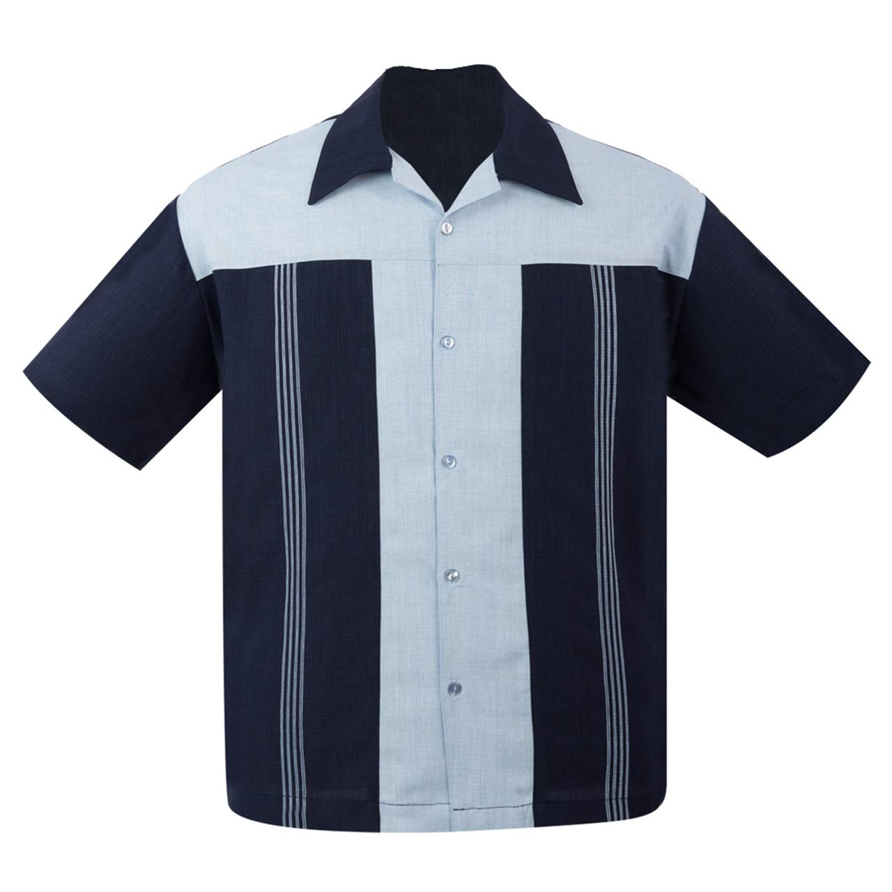 1950s Men's Clothing Steady Clothing Mens The Oswald Button Up Bowling Shirt Navy $59.99 AT vintagedancer.com