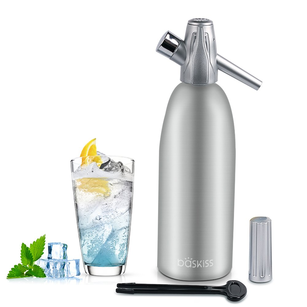 Baskiss Soda Siphon Maker, Making Sparking Water for Juice Drinks Cocktail, 1 Liter