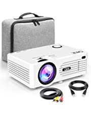 QKK Projector [With Carry Bag], Mini Projector 3600 Lux, Video Projector Supports 1080P Full HD, Connection with HDMI VGA SD USB AV Devices, Home Theater Projector, White.