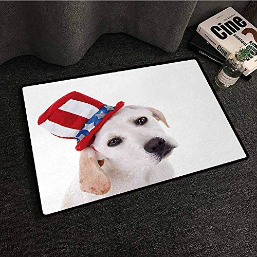DILITECK Interesting Doormat 4th of July Cute White Dog with a Uncle Sam Hat Independence Day Celebration Quick and Easy to Clean W31 xL47 ()