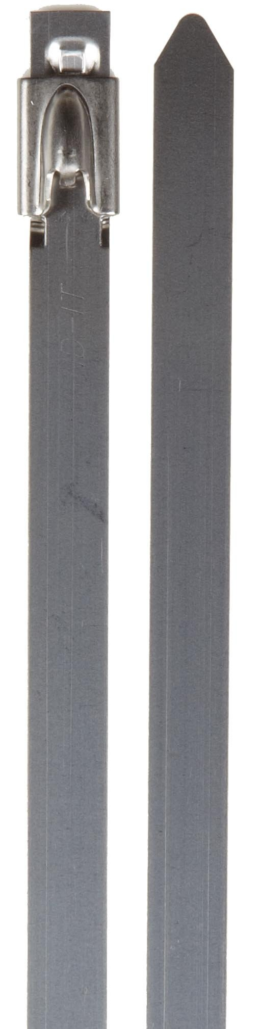 BAND-IT KE1348 Uncoated 304 Stainless Steel Ball-Lok Cable Tie, 5/16'' Width, 14.2'' Length, 0.010'' Thick, 4'' Maximum Diameter, Bag of 100