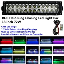 "Night Break Light 10""-12"" Led Light Bar with Remote Controller RGB Halo Ring Color Changing Led Light Bar CREE Led Lights for Off-road SUV Boat 4x4 Jeep Lamp 4wd"