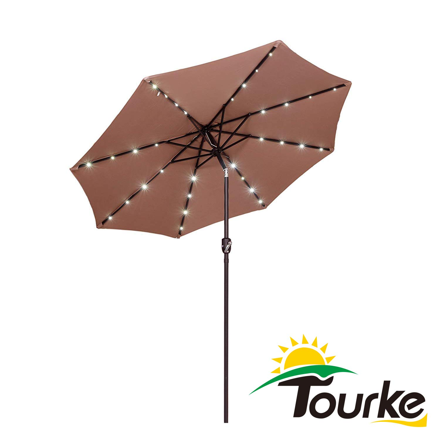 Tourke 9 Ft Led Lighted Patio Table Umbrella Outdoor Umbrella with Push Button Tilt and Crank, 8 Steel Ribs, for Garden, Deck, Backyard, Swimming Pool and More Taupe