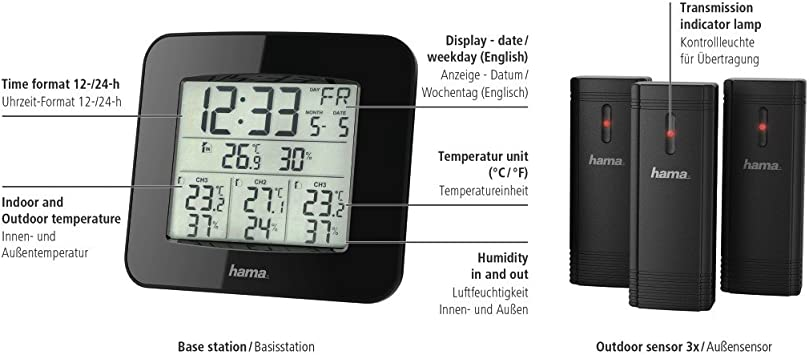 Hama wireless weather station with outdoor sensor wall clock, radio clock, thermometer, hygrometer, barometer, outdoor sensor with 100 m range