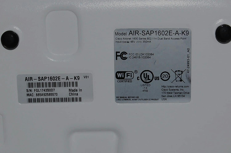 Cisco Aironet 1600 Series Standalone Access Point (Air-Sap1602E-A-K9)  802 11n 300 Mbps