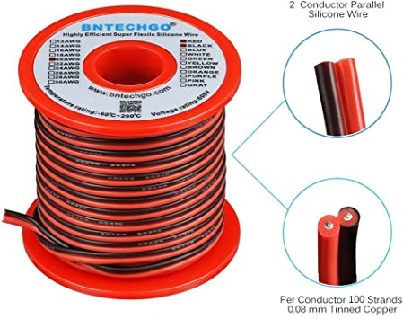 BNTECHGO 14 Gauge Flexible 2 Conductor Parallel Silicone Wire Spool Red Black High Resistant 200 deg C 600V for Single Color LED Strip Extension Cable Cord,Model,Lead Wire 100ft Stranded Copper Wire
