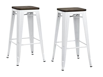 a1690cc1c22 Image Unavailable. Image not available for. Color  DHP Fusion Metal Backless  30 quot  Bar Stool with Wood Seat ...