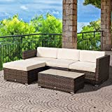 Outsunny 5pc Wicker Sofa Set Outdoor Rattan Sectional Lounging Seat Aluminum Frame Modern Garden Recliner with Tea Table Patio Furniture All Weather Brown