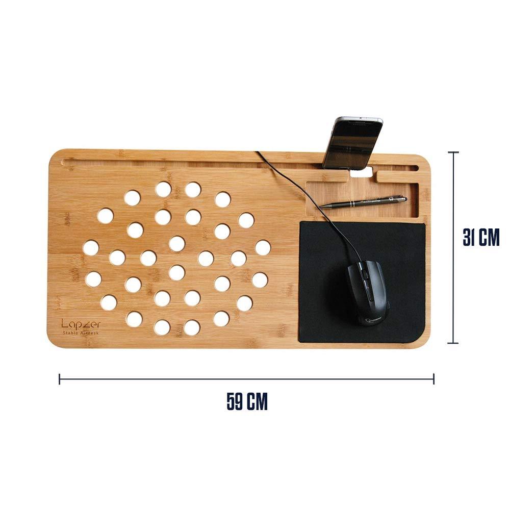 Luftl/öcher 59 x 31 x 2 cm Lapzer Laptop Schreibtisch Bambus Betttisch Laptoptisch mikamax