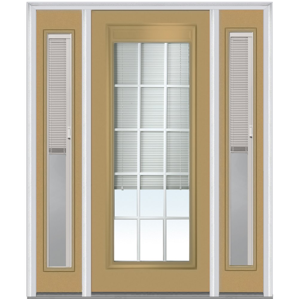 National Door Company ZA14322R Steel, Sandal, Right Hand In-swing, Prehung Door, Full Lite, with RLB and GBG, 36'' x 80'' with 12'' Sidelites