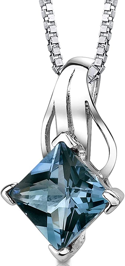 Gorgeous Blue Topaz Wave Pendant in .925 Sterling Silver
