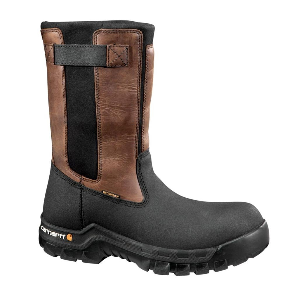 Carhartt Men's 10'' Wellington Waterproof Leather Pull On Boot CMF1391, Brown Oil Tan/Black Coated, 9.5 W US