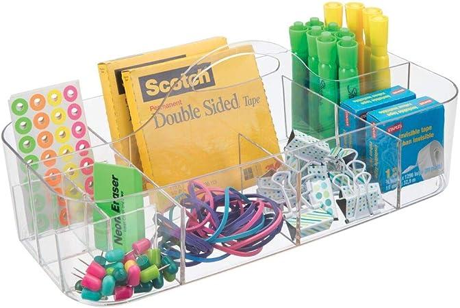 mDesign Organizador de escritorio transportable – Caja organizadora para material de oficina: clips, tijeras, lápices, gomas – Grande/transparente: Amazon.es: Hogar