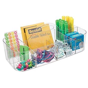Mdesign Boite De Rangement Ideale Pour Fourniture De Bureau Pot A Crayon En Plastique A 11 Compartiments Rangement Bureau Transparent