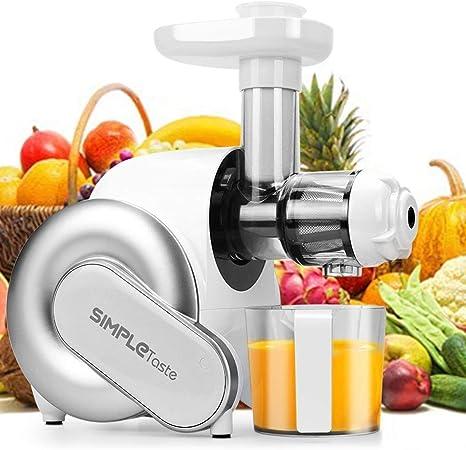 SimpleTaste Licuadoras Para Verduras y Frutas,Licuadora de Prensado en Frío con Función inversa, Extractor de Jugos con Motor Silencioso, Jarra y