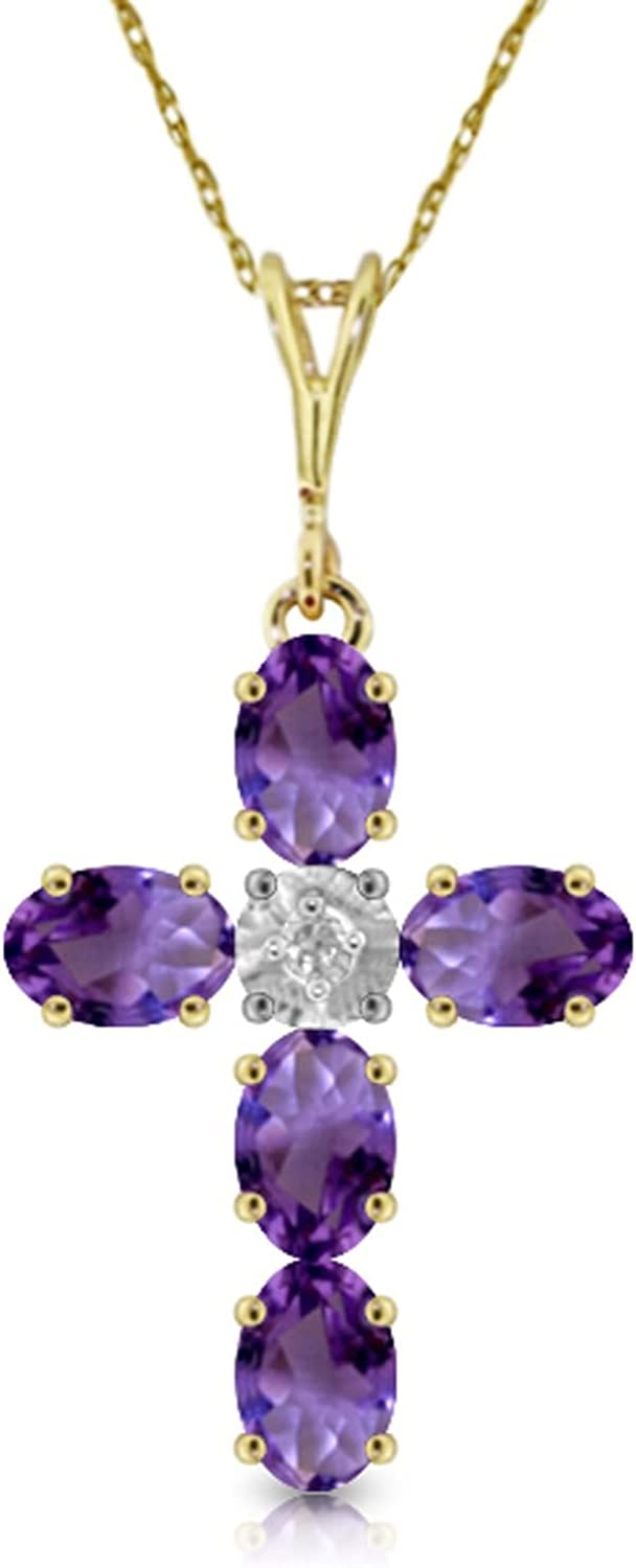ALARRI 14K Solid Rose Gold Necklace w// Natural Purple Amethysts /& Diamond with 24 Inch Chain Length