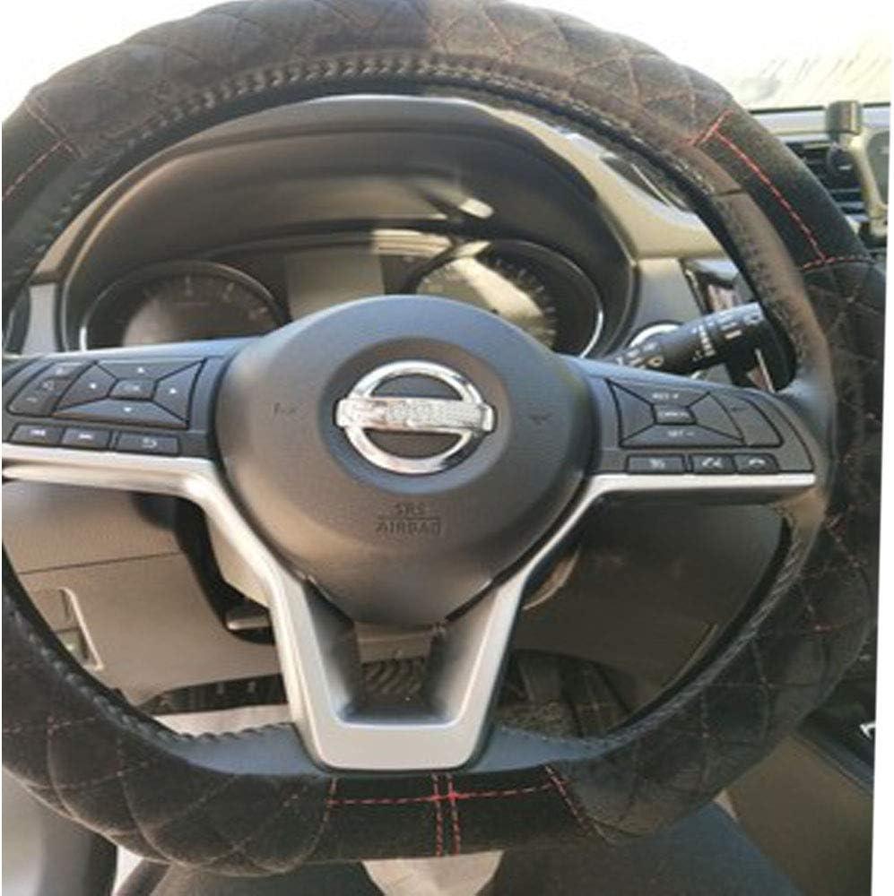 Charmchic Fuzzy D Type Shape Flat Bottom Fluffy Anti Cold/&Slip Car Steering Wheel Cover Universal 15 Inch Black