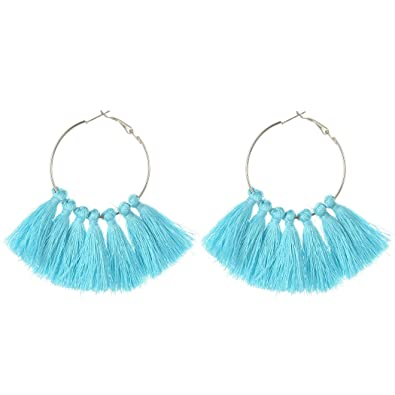 c817b00ca Lucky Grass Fashion 3 Colors Bohemian Fringe Tassel Hoop Earrings for Women  Summer Party Jewely (