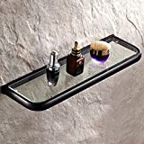 Leyden Bathroom Wall Mount Single Layer Rectangle Glass Shelf Black Oil Rubbed Bronze Finish Bathroom Storage Bathroom Accessories Holder