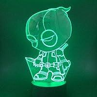 XZHYMJ 3D Illusion Lamp Led Nachtlampje Q-Versie Deadpool Mooi Cadeau voor Jongen Batterij Operated Decoratieve Hologram…