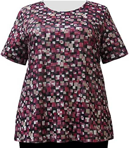 A Personal Touch Raspberry Tetris with Silver Foil Women's Plus Size Top