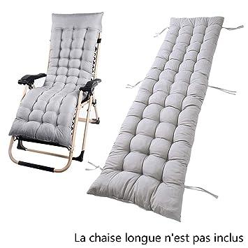 Coussin Chaise Longue Epais Transat De Jardin Bain Soleil Gris