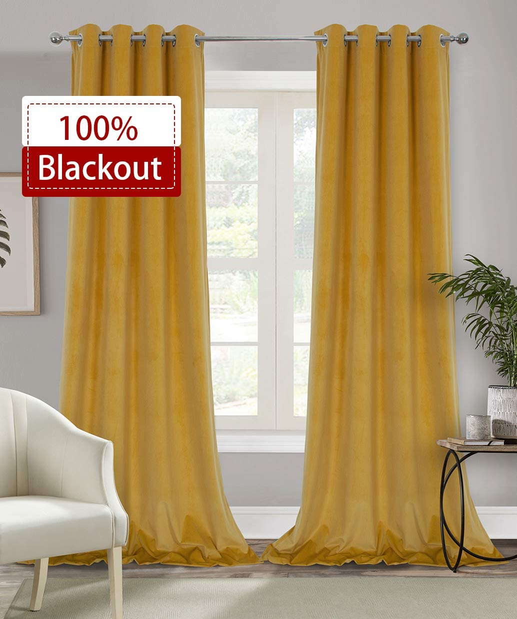 Alexandra Cole 100 Blackout Curtains for Bedroom Living Room Yellow Soft Velvet Curtains 108 Inches Length 2 Panels Thermal Insulated Window Curtains