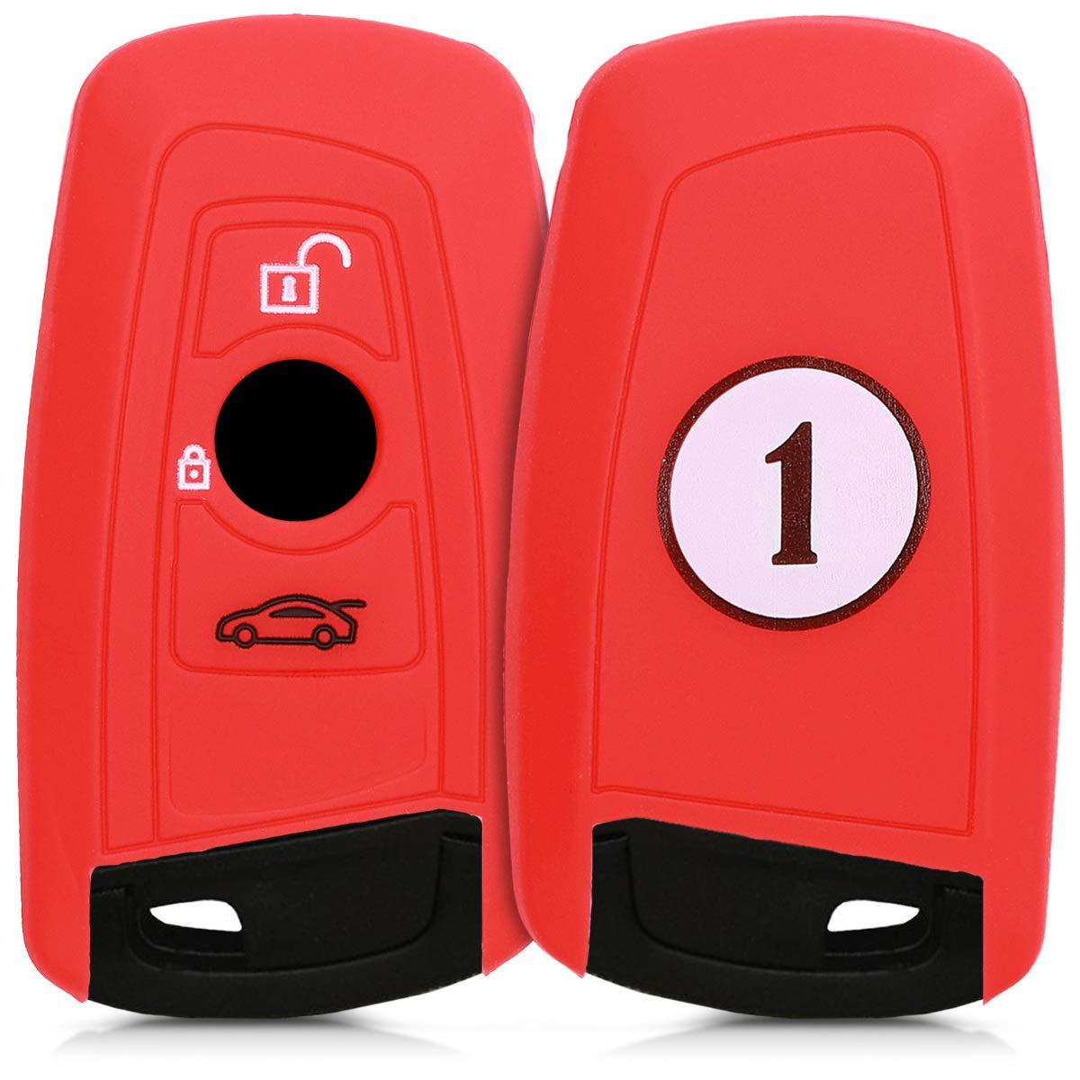 Coque pour Clef de Voiture /à Distance Keyless Go Uniquement kwmobile Accessoire cl/é de Voiture pour BMW /Étui de Protection Souple BMW 3-Bouton en Silicone Rouge-Noir