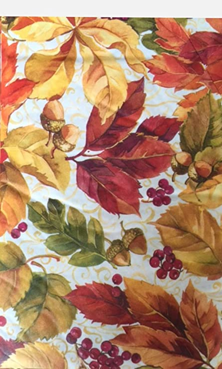 Vinyl Tablecloths Flannel Backed   Fall Tablecloth Colorful Maple Autumn  Leaves Theme Oblong 52 X70
