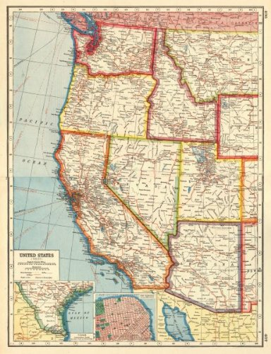 Us Map 1920.Amazon Com Usa West California Az Ut Nv Wa Or Id San Francisco