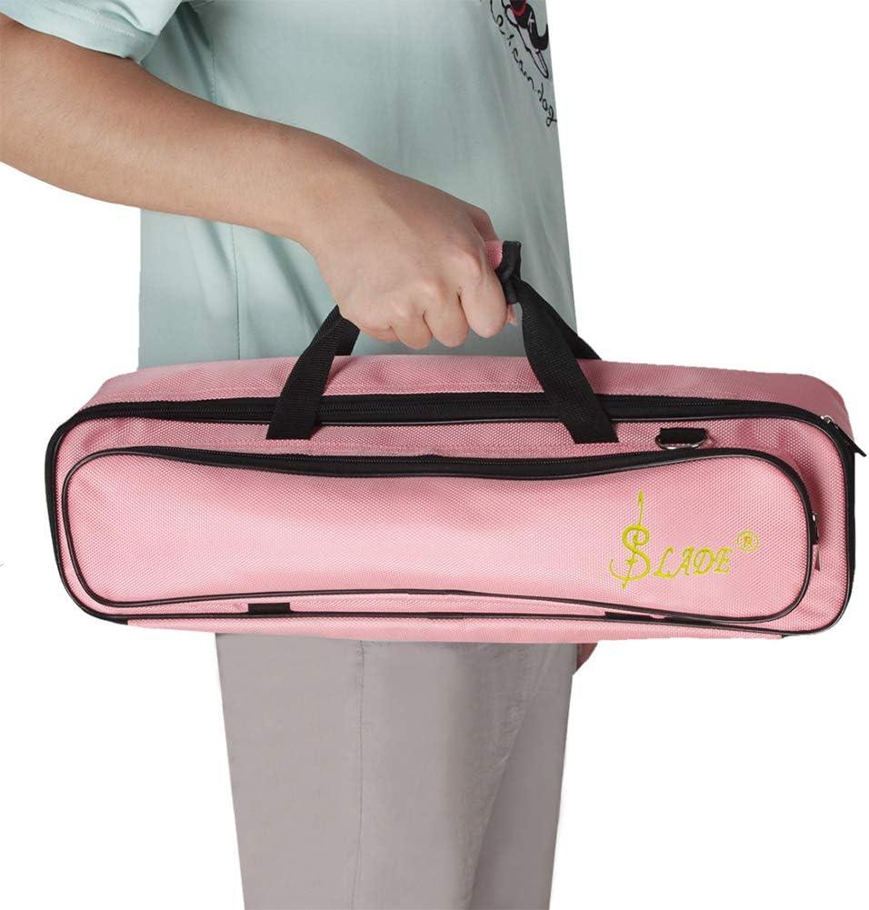 Pink Paquet Flute /Étui pour fl/ûte /à patte de velours c/ôtel/é Sarcelle Double /éponge en tissu Oxford 2.0 int/érieur velours plat