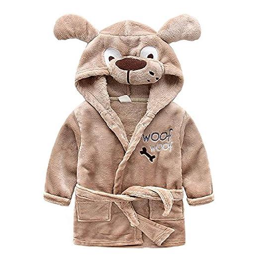 Toddlers Kids Baby Soft Fleece Bath Robe Bathrobe Pajamas Sleepwear (Brown  Dog 1c21c486f