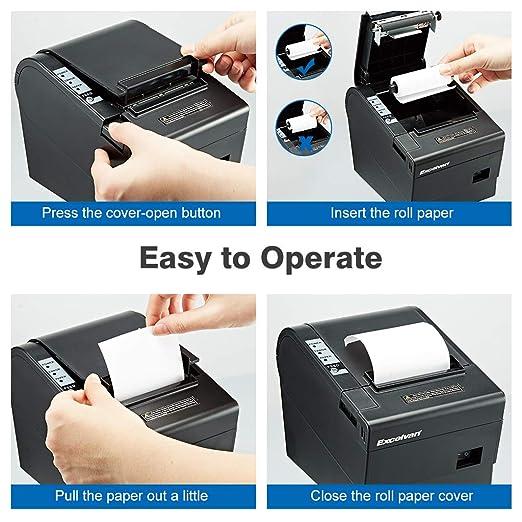 Excelvan Mini Impresora Térmica de Recibo Portátil, ticket de 80 ...