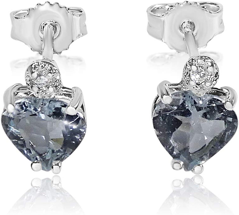 MILLE AMORI ∞ Pendientes Mujer Oro y Diamantes - Oro Blanco 9 Kt 375 ∞ Diamantes 0.03 Kt - Aguamarina 2 Kt