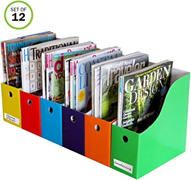 Assorted Colors 4-Pack Evelots Home//Office Magazine//Folder Holder Organizers