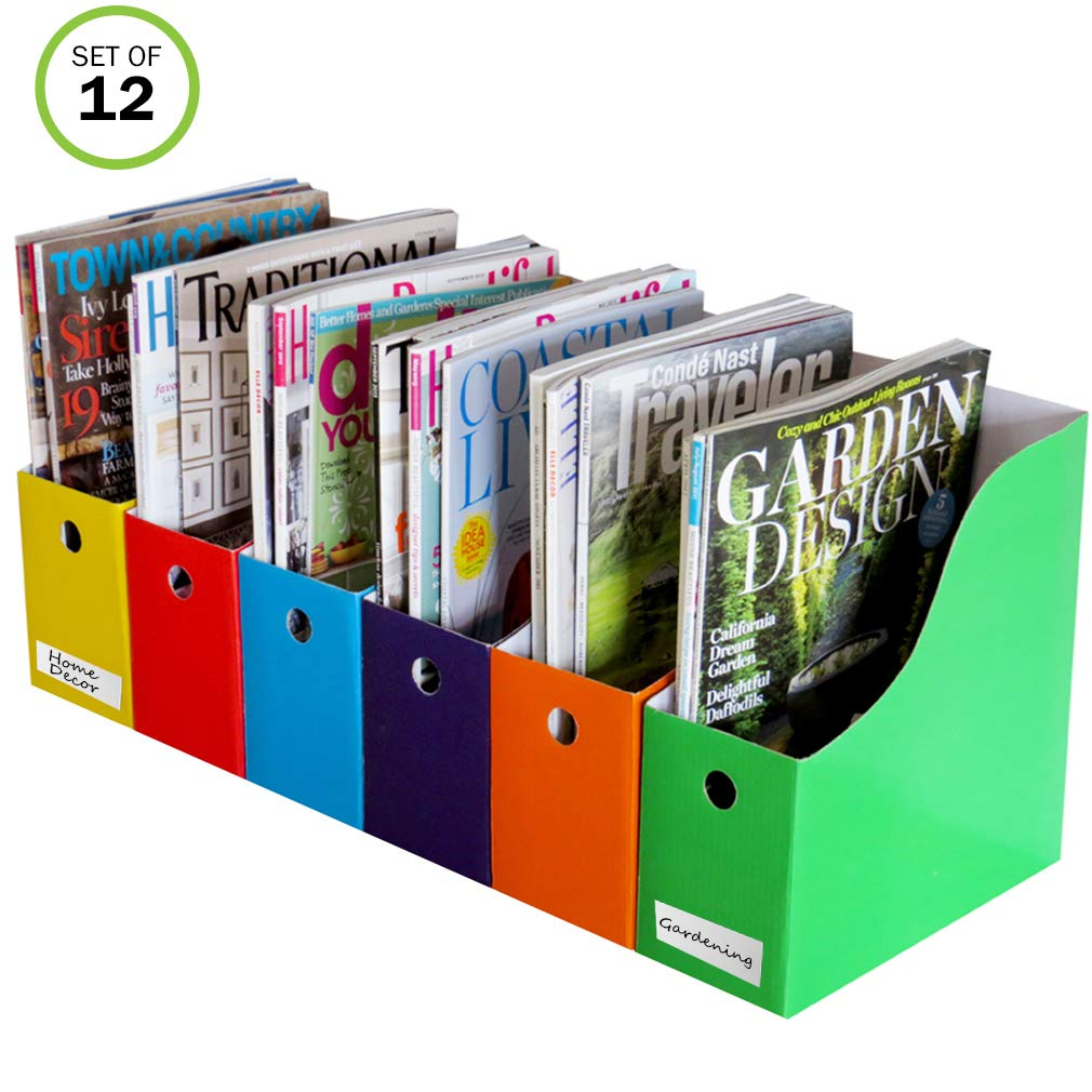 Evelots Magazine File Holder-Organizer-4 Inch Wide-6 Colors-With Labels-Set/12 by Evelots