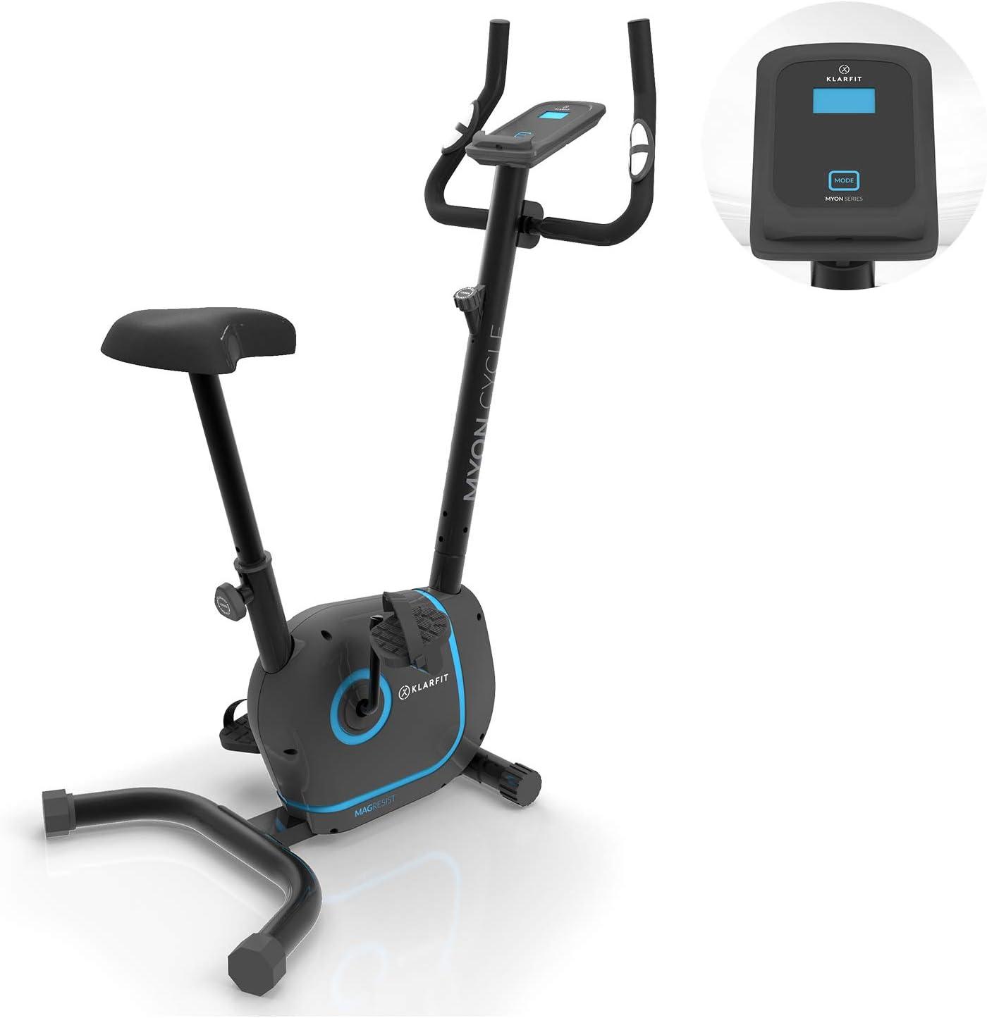 KLAR FIT Myon Cycle - Bicicleta estática, Volante de inercia de 12kg, Tracción por Correa con tecnología Silent Belt, 8 Niveles, Pulsómetro, Altura ...