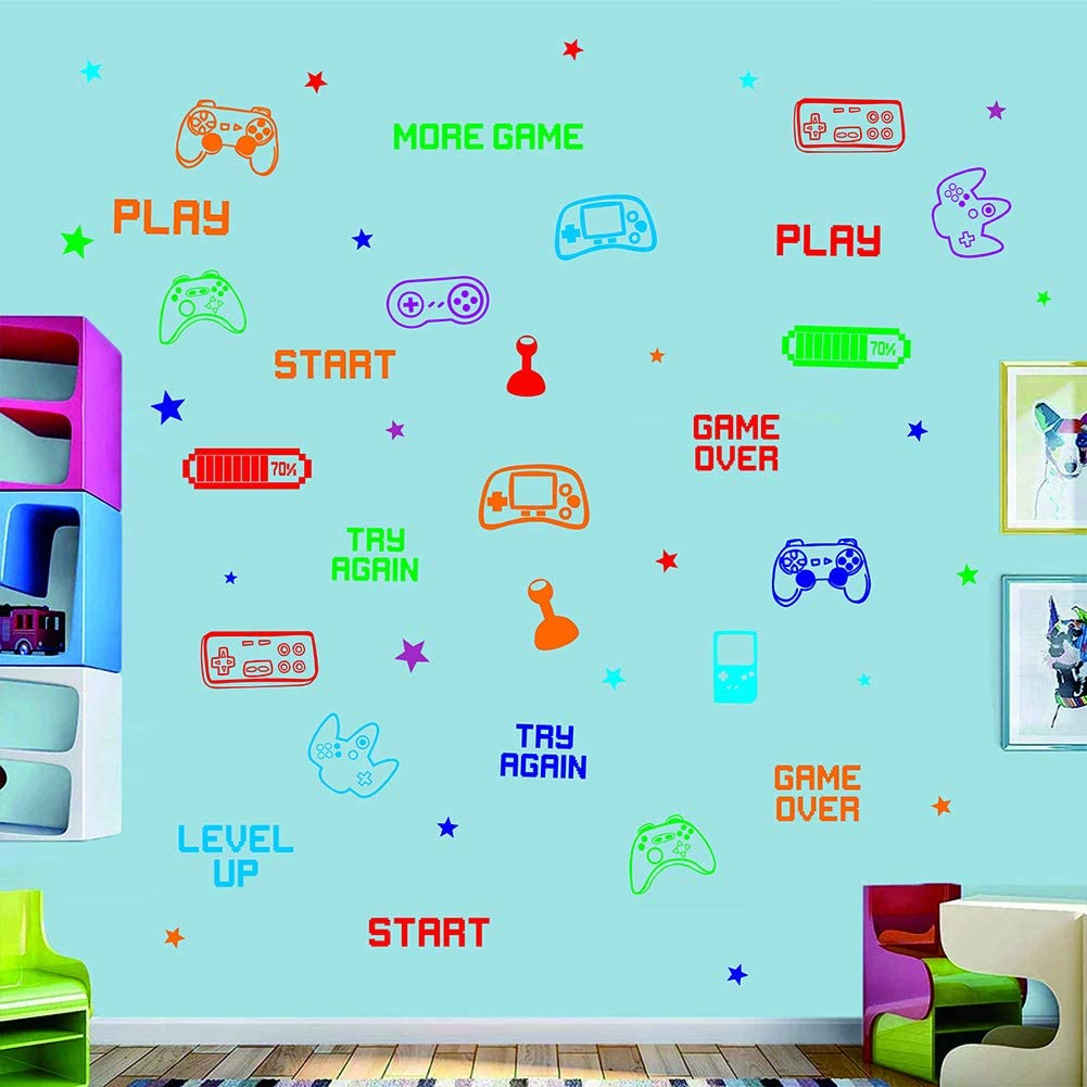 Creative Gaming Controller for Boys Room Kids Nursery Wall Art Room Decor,Play Gamer Theme Gaming Room DIY Decoration Colorful Video Game Wall Decal Sticker