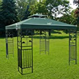 Large Green 12x12 Foot Square Polyester Garden Canopy Gazebo Replacement Top Double Tier Waterproof UV Protection Sun Shade for Outdoor Patio Lawn Cover Tent