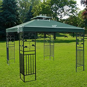 Large Green 12x12 Foot Square Polyester Garden Canopy Gazebo Replacement Top Double Tier Waterproof UV Protection