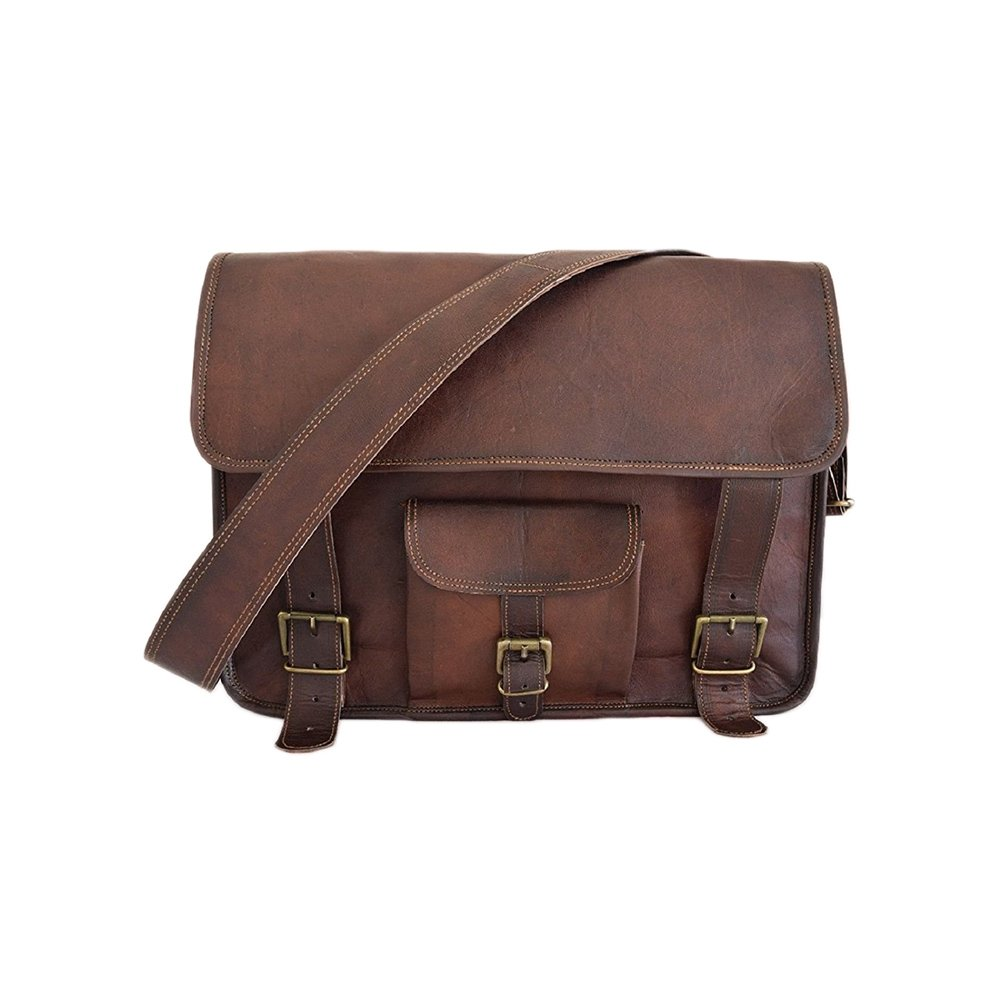 Messenger Bag 11 Leather Vintage Bag Shoulder Handmade Laptop Brown Bag Unisex College School Office Bags /… Style 6