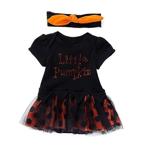Ropa para bebés, Ropa para niños, (3-18M) Vestido de Manga Corta a Rayas de Calabaza de Halloween niña bebé 02: Amazon.es: Ropa y accesorios