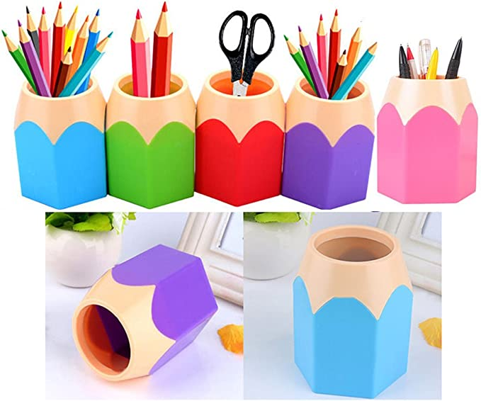 Flybuild Pack Of 5 Assortd Color Pen Vase Pencil Pot Makeup Brush Holder Stationery Desk Tidy Organizers Blue Green Pink Purple Red Amazon Co Uk Diy Tools