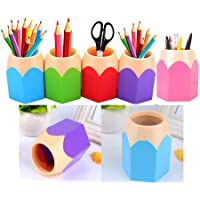 Flybuild Lot de 5 Assortd Couleur Stylo Vase Pot à crayons Maquillage Brosse Support Organiseur de bureau papeterie organiseurs Blue,Green,Pink,Purple,Red