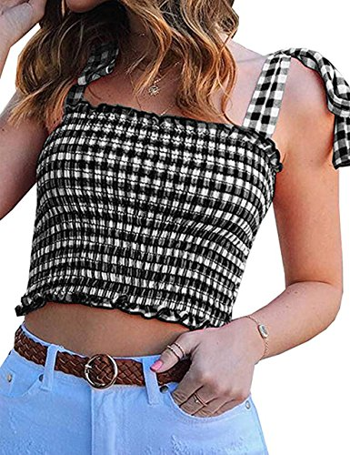 KAMISSY Women's Frill Smocked Crop Tank Top Tie Shoulder Strap Vest (Medium, Multicolored-)