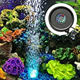 Dxcel Aquarium Air Stone LED Light Bubble Diffuser Disk with 12 Color Change LEDs for Fish Tank