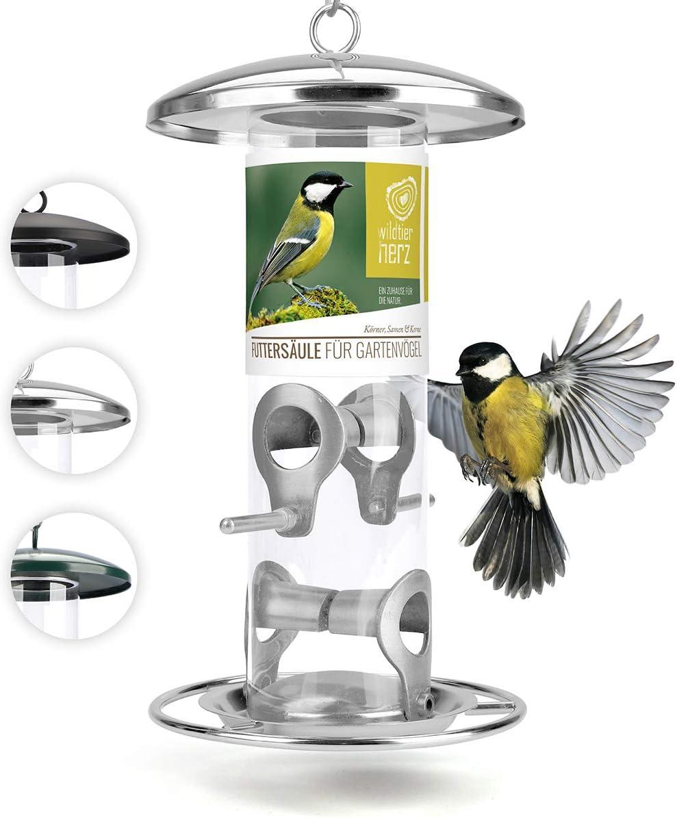 corazón animal salvaje | Comederos para aves de comida de grano, 26 cm, con plazas de acero inoxidable, columna de alimentación para pájaros [plata]