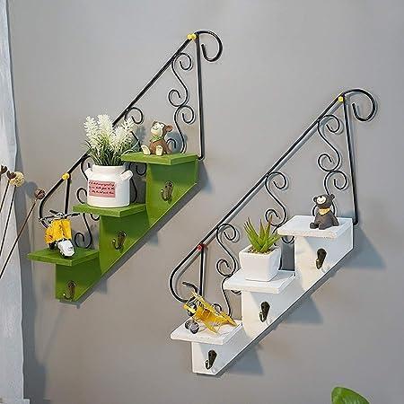 LRZS Estante de pared para colgar escaleras, estilo americano, para sala de estar, flores, estantería de