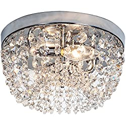 SOTTAE Elegant Mini Style 2 Lights Hallway Living Room Dining Room Kitchen Ceiling Light Fixtures Modern Style Crystal Chandelier, H10.2 D9.8